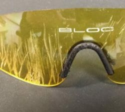 Picture of Bloc Sunglasses after surviving impact of cyclist's crash